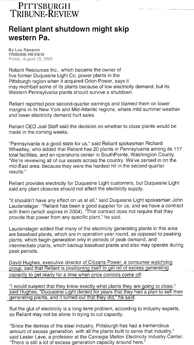 August 15, 2003, Pittsburgh Tribune Review U201c ...